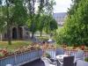 Gästehaus Verhoeven, Blick vom Balkon auf Kaiserpfalz und Domvorhalle